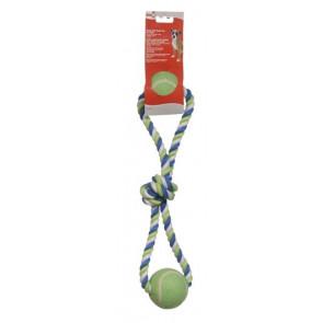 Cuerda Algodón Azul/Lima/Blaco Nudo y 2 Pelota DOGIT_72393